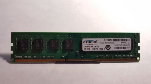 Crucial 4GB PC3-12800 DDR3-1600MHz non-ECC Unbuffered CL11 240-Pin DIMM D-RK