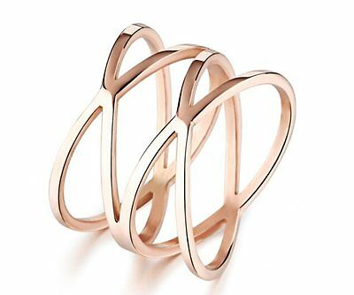 IP Rose Gold Brand New Women hollow out Ring Stainless steel Jewelry Charming