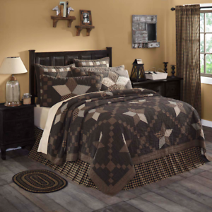 FARMHOUSE COUNTRY PRIMITIVE FARMHOUSE STAR PATCHWORK QUILTED BEDDING COLLECTION