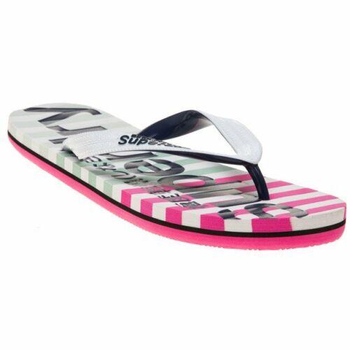 New Womens Superdry White Multi Eva Stripe Pvc Sandals Flip Flops Slip On