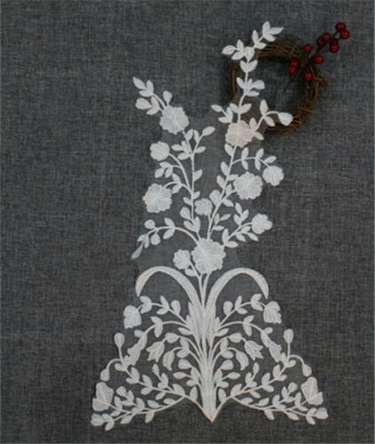 Floral Wedding Dress Trim Embroidery Applique Ivory Bridal DIY Lace Motif 1 PC