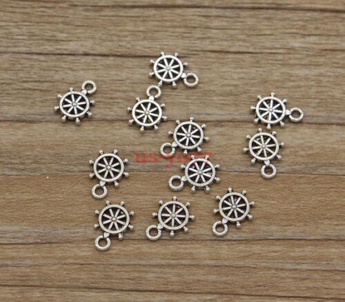 50 Small Rudder Ship Wheel Charms Bulk Charms Finding Antiuqe Silver 9x12 1128