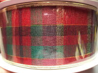 Christmas Ribbon Plaid Red Green Shiny Gold W/ Wire Edges 90 Feet,
