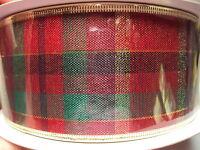 Christmas Ribbon Plaid Red Green Shiny Gold W/ Wire Edges 90 Feet,