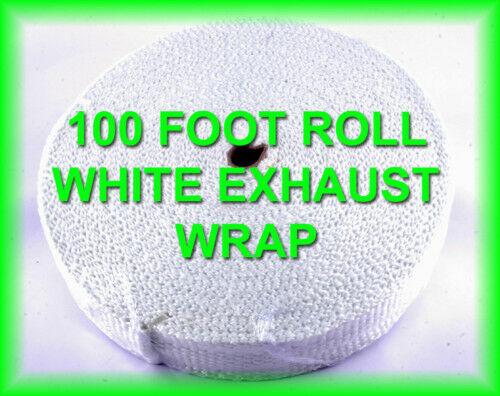 """WHITE RACING HEADER WRAP EXHAUST PIPE INSULATION HEAT TAPE 1//8/""""x 2 INCH 100 FEET"""