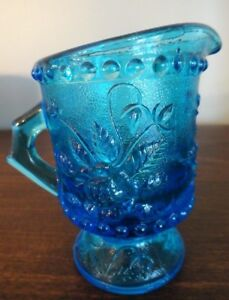 Vintage-Blue-Pressed-Glass-Floral-Beaded-Edges-Footed-Mini-Pitcher