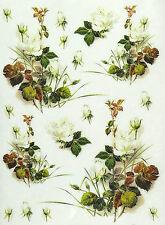 CIALDE di riso per decoupage, Scrapbook foglio, Craft PAPER white roses