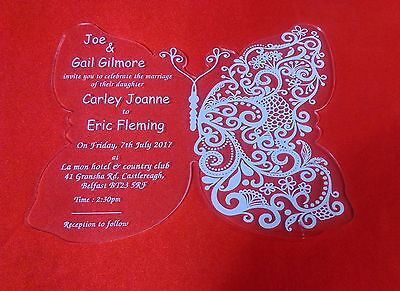 50 Personalised Luxury Royal Butterfly Pertex Acrylic Wedding Invitations Invite