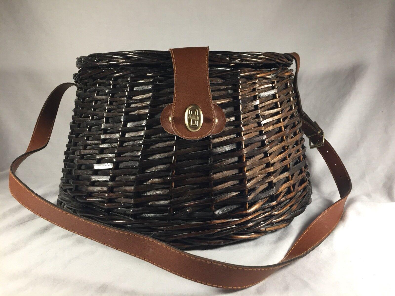 Vintage Fishing Creel Basket Weaved Leather Strap Large Creel