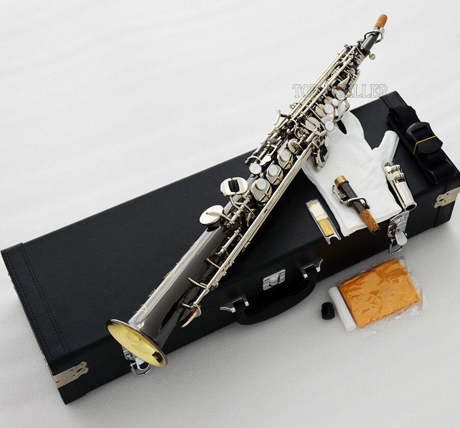 schwarz Silber Nickel Pro.Straight Sopransaxophon Bb Sax Gold Bell Hard Case
