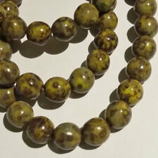 Large Opaque Olive Green Czech Glass Round Beads 10mm 8pcs