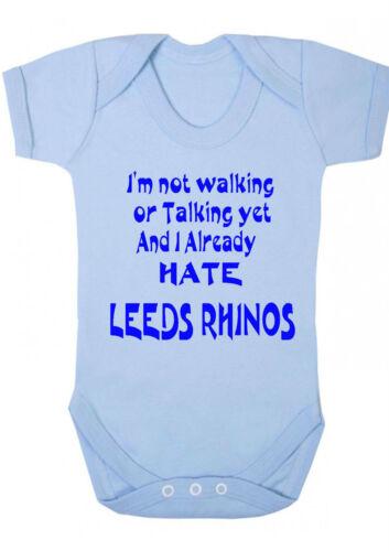 Je déteste Leeds Rhinos drôle Babygrow body gilet rugby bradford bulls wakefield