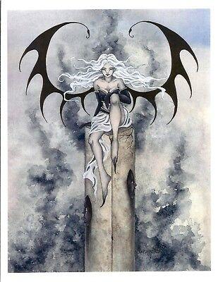 Amy Brown Faery Fairy Shade Goth Print 8.5x11 Tattoo New Dragon Wings Owl Purple