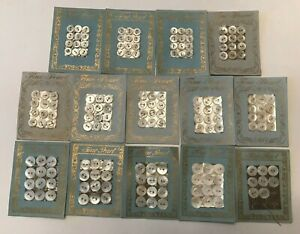 160+ VIntage MOTHER OF PEARL 2 Hole BUTTONS New On 14 Cards