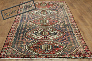 OLD-WOOL-HAND-MADE-ORIENTAL-FLORAL-RUNNER-AREA-RUG-CARPET-280x120CM