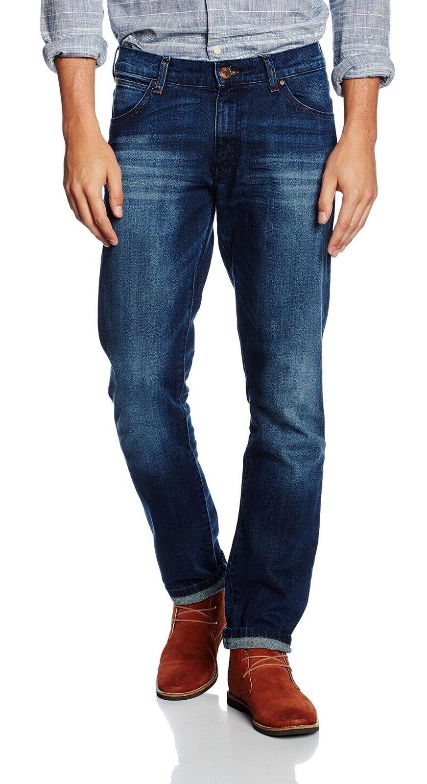 Wrangler Mens Larston Larston Larston Slim Taperot Skinny Stretch Jeans Blaze Vintage Denim 9faad1