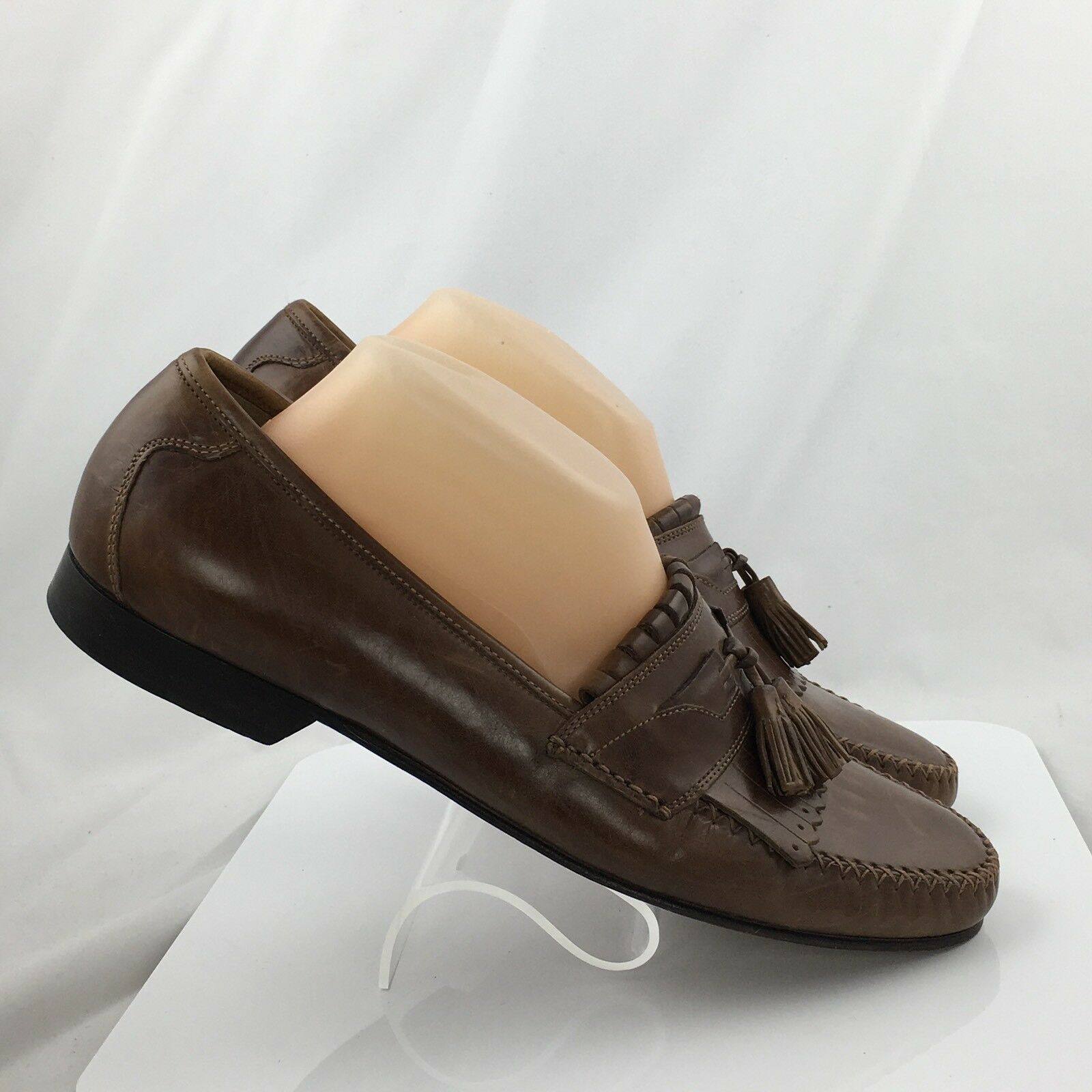 Johnston & Murphy Breland Kiltie Tassel Loafers Uomo Taglia 10M Saddle Tan 15-0836