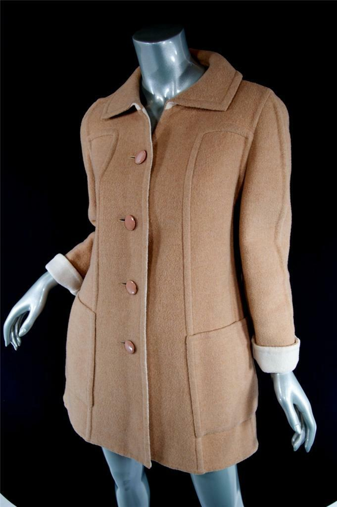Bergdorf Goodman Vintage Kamel   Elfenbein Wendbar Wolle Coat-Great Looking  Sz