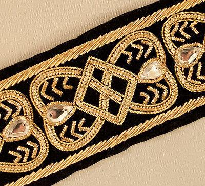 Gold Bullion on Black Velvet. Tudor Reproduction. Elizabethan, Hand-Beaded Trim