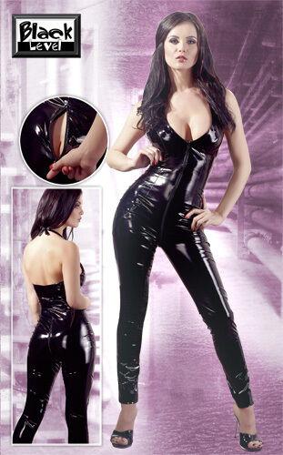 Suit Vinyl Vinyl Black With Double Cursor Pvc Catsuit 2 Way Zipper
