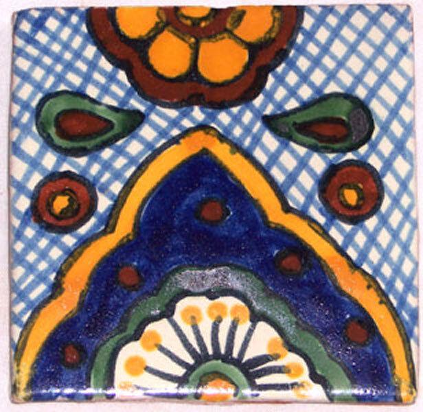 C145- Mexican Handmade Talavera Clay Tile Folk Art 4x4