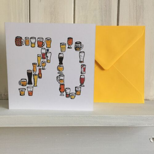 70 Birthday Card 70th Card// 70th Birthday//70// seventy// Beer