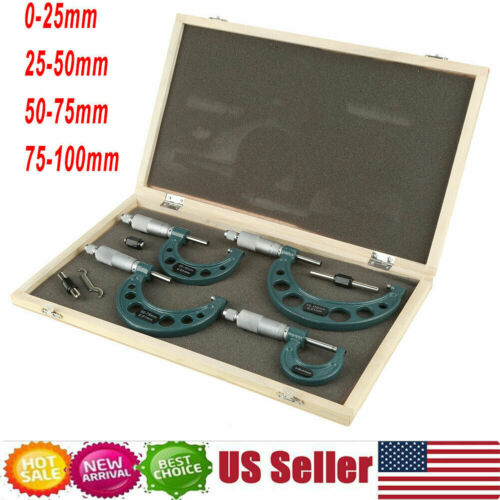 0-100mm//0.01mm Premium Outside Micrometer Metric Set Machinist Tool Carbide Tips