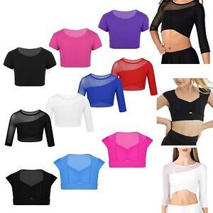 Girls-Kids-Sports-Dance-Crop-Bra-Top-Ballet-Gym-Training-Belly-Workout-T-Shirts