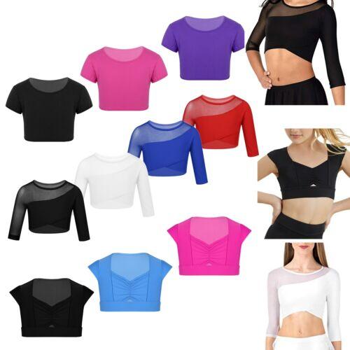 Kids Girls Ballet Belly Camisole Vest Crop Top Dance Sport Yoga Gym Dancewear