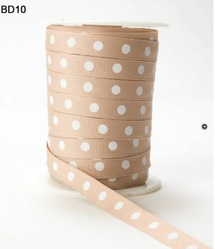 3//8 Inch Grosgrain Center Dot Ribbon– May Arts Tan//White BD10-5 Yards