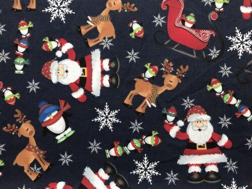 Feliz Navidad Santa FQ cuarto Gordo Tela Reno Trineo 100/% Algodón Acolchado