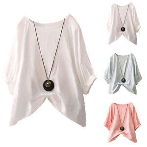 Women-Cotton-Summer-Batwing-Sleeve-Shirts-Casual-Baggy-Loose-Solid-Blouse-Tops
