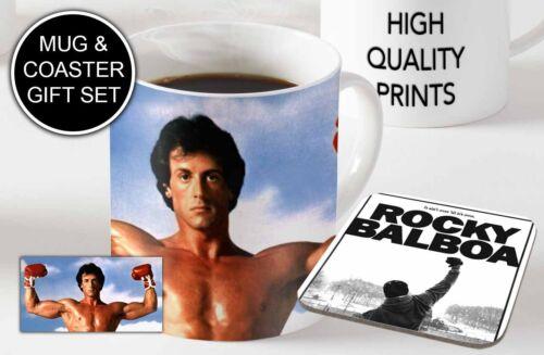 Wooden Coaster Gift Set Rocky Balboa Awesome Ceramic Coffee MUG