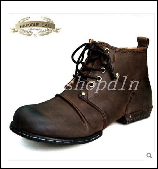 British Retro Uomo lace up military army Leather Ankle Boots Punk Motor Shoes SZ
