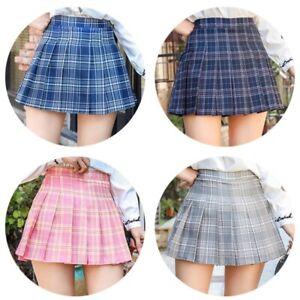 Women-Girls-High-Waist-Tennis-Plaid-Skater-Flared-Pleated-Skirt-Short-Dress-US