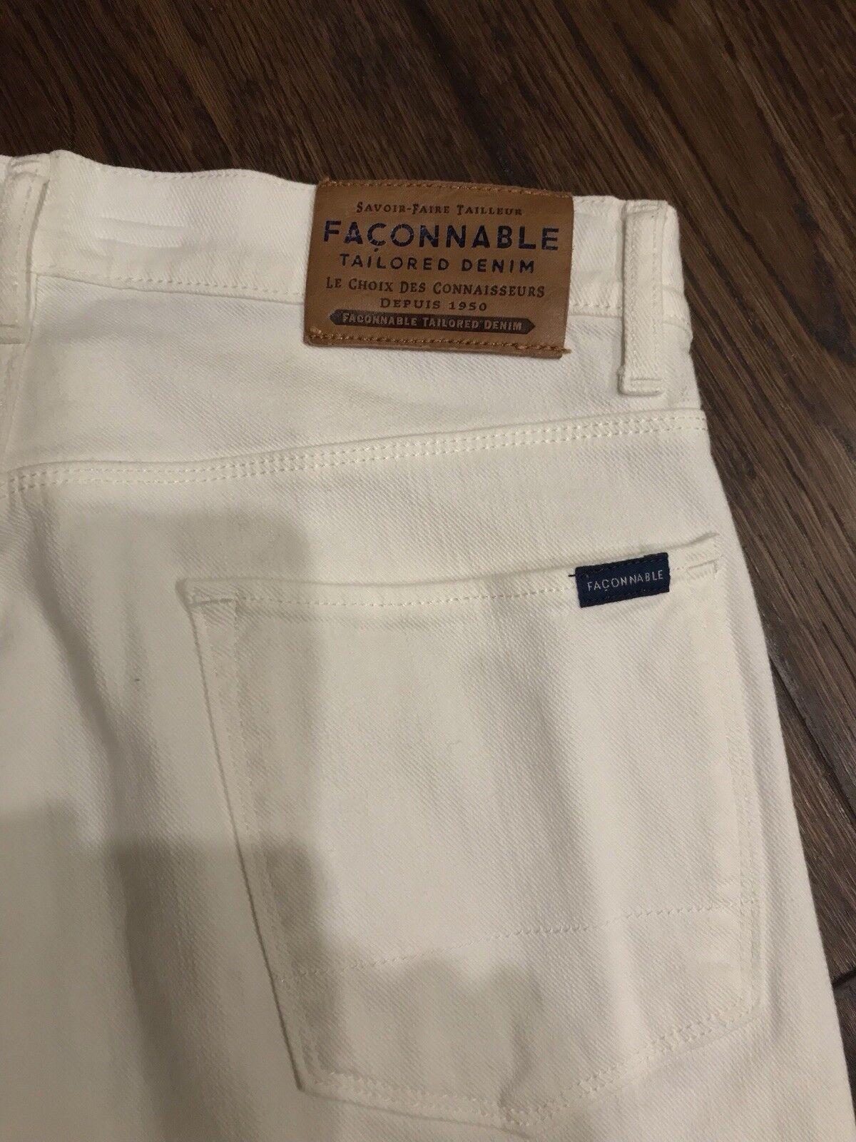 Façonnable Men 32x32 White F20 Regular Straight Leg Tailored Denim Jeans