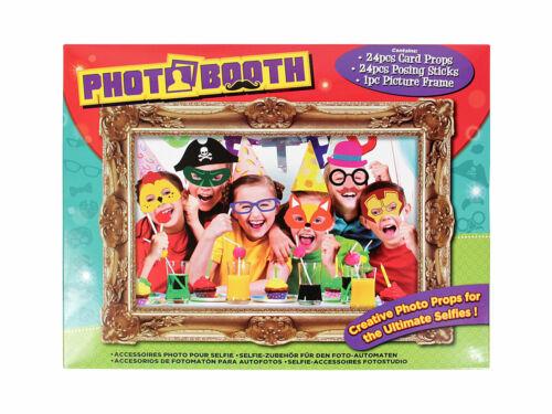 Photobooth 25 Teile P329003 Party Foto Verkleidung Hüte Fliegen Krawatten NEU