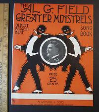 RARE Sheet Music Song Book - Al G Field Greater Minstrels 1911 Black Americana
