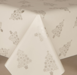 Christmas Metallic Silver Grey Trees Pvc Vinyl Table Cloth Wipe Clean Textured