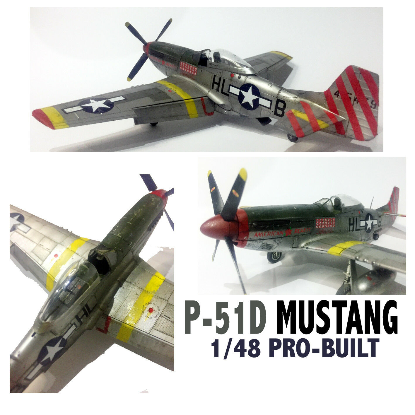 P-51D Mustang USAAF WWII Aircraft 1 48 Pro-Built and Painted