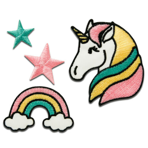 colorful Set unicorn star rainbow different sizes Appli Iron on patches