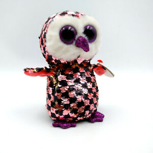 """6/"""" TY Beanie Boos Plush Stuffed Toys Owlette the Owl Glitter Eyes With Tag Soft"""