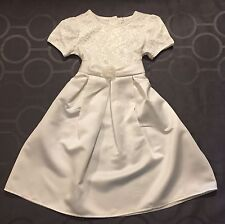 WHITE ROSE COLLAGE EMBROIDERED LACE BODICE COMMUNION DRESS SZ 8 Flower Girl