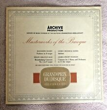 LP  ARCHIVE PRODUCTION MASTERWORKS OF THE BAROQUE MOURET BACH HANDEL TELEMANN.
