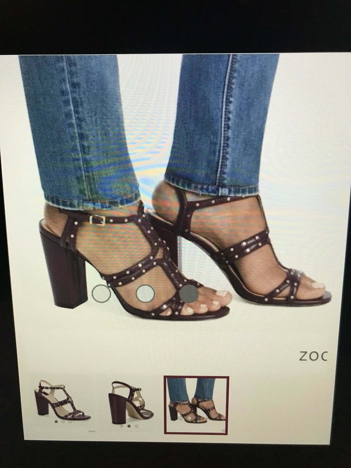 White House Black Market Women's Polly Studded Heels Sandals Studded Purple 8.5M