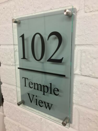Modern House Number Plaques Glass Acrylic Silver Wall Door Sign Name Plate