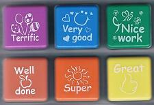 Teacher collection self inking rubber stamp set  6 stamps for teachers well done