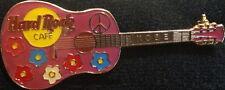 Hard Rock Cafe KOBE 1999 ACOUSTIC GUITAR PIN Flowers & Peace HRC Catalog #3942