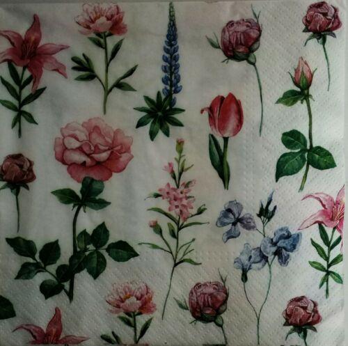 4 x Servilletas papel decoradas flores.4x decoupage paper napkins mix flowers