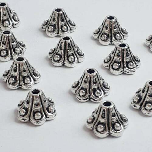 20pcs Cone Flower Bead Caps Antique Silver 10x6mm Jewellery Crafts B22736